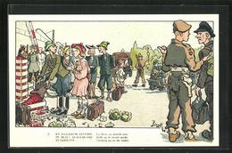 Künstler-AK En Allemagne Occupee, Belgischer Soldat Auf Dem Schwarzmarkt - Militaria