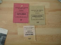 Lot 3 Ticket Entree Circuit De Dieppe 1930 Course Enceinte Garage - Biglietti D'ingresso