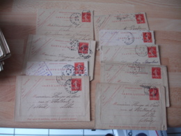 Lot De 75 Entier Postal Entiers Postaux Carte Lettre Semeuse 10 C Etude Millesime Obliteration Flamme - Postal Stamped Stationery