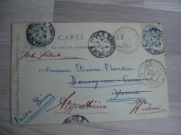 Argentieres Cachet Perle Facteur Boitier Obliteration Sur Lettre - 1877-1920: Periodo Semi Moderno