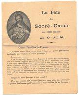 LA FÊTE DU SACRE COEUR EST CETTE ANNEE LE 8 JUIN IMAGE PIEUSE RELIGIEUSE HOLY CARD SANTINI HEILIG PRENTJE - Imágenes Religiosas