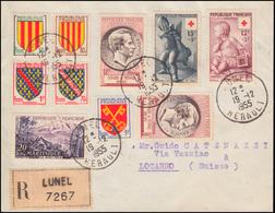 Frankreich 1076-1077 Rotes Kreuz + 1072-1075 Wappen-Satz R-Brief LUNEL 19.12.55 - Frankreich