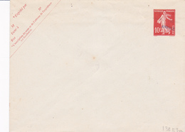 Enveloppe Semeuse Camée 10 C Rouge  Neuve E24 - Enveloppes Repiquages (avant 1995)