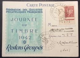 CP7 Journée Du Timbre 1942 Le Havre Pétain 515 Carte Postale - Marcophilie (Lettres)