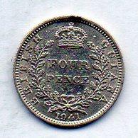 BRITISH GUIANA, 4 Pence, Silver, Year 1941, KM #30 - Guyana