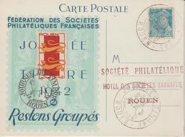 France Carte Journée Du Timbre 1942 Rouen Avec Vignette - Commemorative Labels