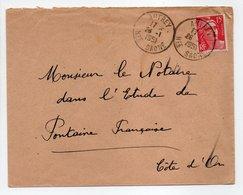 - Lettre AUTREY (Haute-Saône) Pour FONTAINE-FRANCAISE (Côte-d'Or) 26.1.1951 - - Covers & Documents