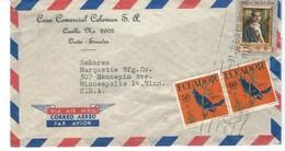 COVER CORREO AERO - AIR MAIL - QUITO - MINNEAPOLIS - USA - CASA COMMERCIAL COLEMAN S.A. - Equateur