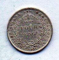 BRITISH GUIANA & WEST INDIES, 4 Pence, Silver, Year 1901, KM #26 - Guyana