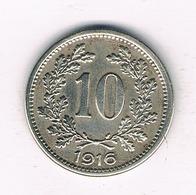 10 HELLER 1916  OOSTENRIJK /8942/ - Austria