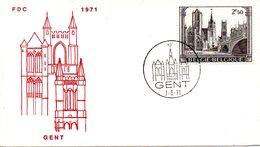 BELGIQUE. N°1594 De 1971 Sur Enveloppe 1er Jour. Cathédrale De Gand. - Eglises Et Cathédrales