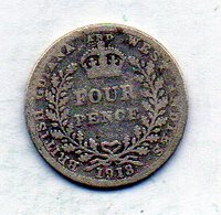 BRITISH GUIANA & WEST INDIES, 4 Pence, Silver, Year 1913, KM #28 - Guyana
