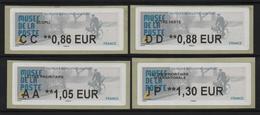 4 ATMS, LISA2, 0.86/ 0.88/ 1.05/ 1.30€ , MUSEE DE LA POSTE PARIS 23/ 11/ 2019. Facteur Des Années 50. - 2010-... Vignettes Illustrées