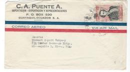COVER CORREO AERO - VIA AIR MAIL - GUAYAQUIL - MINNEAPOLIS - MINNESOTA. - Equateur