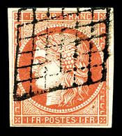 N°7a, 1F Vermillon Vif, Oblitération Grille, Jolie Nuance, SUPERBE. R.R.R (signé Calves/Brun/certificats)   Qualité: O - 1849-1850 Ceres