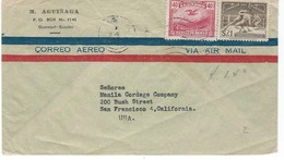 COVER CORREO AERO - VIA AIR MAIL - GUAYAQUIL - SAN FRANSISCO - CALIFORNIA. - Ecuador