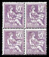 N°115, Mouchon, 30c Violet En Bloc De Quatre, TTB (certificat)  Qualité: **  Cote: 1260 Euros - 1900-02 Mouchon
