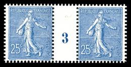 N°132, 25c Bleu En Paire Millésime '3', TTB (certificat)  Qualité: **  Cote: 600 Euros - Millesimi