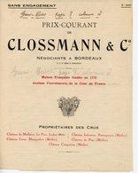 BORDEAUX PRIX COURANTS DES VINS DE LA MAISON CLOSSMANN & C° NEGOCIANTS 1914 A 1934 - Alimentos