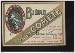ETIQUETTE DE BIERE - BIERE DE LA COMETE - USINES ET CAVES A CHALONS-SUR-MARNE, MARNE - Bière