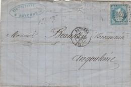 Yvert 22 Variété Point Sous E De Empire Lettre BAYONNE Basses Pyrénées 11/3/1/865 GC 359 à Angoulême Charente - Marcofilie (Brieven)