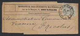 """émission 1884 - N°43 Sur Bande De Journal Moniteur Des Intérêts Belge Obl Simple Cercle """"Bruxelles 5"""" Vers St-Nicolas - 1869-1888 Liggende Leeuw"""