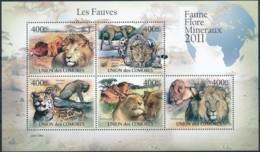 D - [38546]TB//**/Mnh-c:19e-Comores 2011 - BL2165/2169, Les Fauves, Animaux & Faune, Lions, Léopard, Panthère. - Raubkatzen