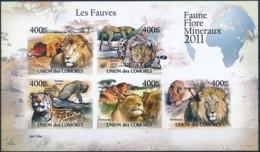 D - [38547]TB//ND/Imperf-c:19e-Comores 2011 - BL2165/2169, Les Fauves, Animaux & Faune, Lions, Léopard, Panthère. - Raubkatzen