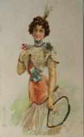 C. P. F. Elegant Fashion Card // Beautiful Woman With A Fan. 1809 // Ca 1899 - Illustrators & Photographers