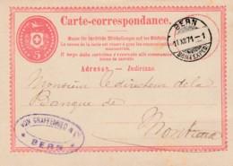 Carte Corespondance De La Firme Von Graffenried, Bern,  Obl Le 11.XII.1871, à Dest Du Directeur De La Banque De Montreux - Entiers Postaux