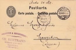 Carte Postale - Entier Postal De Ch.Bertrand à Genève, Oblitérée Le 23.III.1887, à Destination De Menziken - Entiers Postaux
