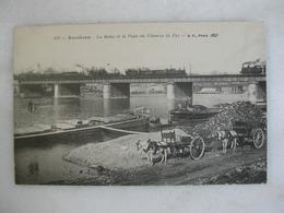 ASNIERES - La Seine Et Le Pont Du Chemin De Fer (animée D'attelages, De Péniches Et De Trains Qui Passent) - Asnieres Sur Seine