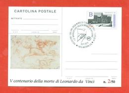 INTERI POSTALI-INTERO POSTALE SOPRASTAMPA PRIVATA-MARCOFILIA-LEONARDO DA VINCI - MASSAFRA - 6. 1946-.. Repubblica
