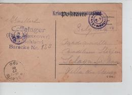 PR7627/ CP PDG-POW Cellelager Hannover Censures Du Camp > Sclayn C D'arrivée 1916 - WW I
