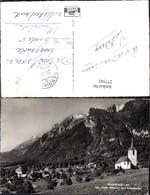 277542,Sennwald Totale Kirche M. Hohe Häuser U. Kreuzberge Bergkulisse Kt St Gallen - SG St. Gallen
