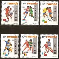 Rwanda Ruanda 1990 OBCn°  1371-1376  *** MNH Cote 75 € Sport Soccer Football Surcharge Italia 90 - Rwanda