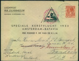 """1933, """"SPECIALE KERSTVLUCHT AMSTERDAM-BATAVIA, Addressed To Bandong - Airmail"""