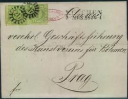 """1856, Faltbriefhülle Mit 2-mal 9 Kreuzer Mit GMR """"217"""" Von München Nach Prag. - Mi-Nr.  5 III (2) - Bavière"""