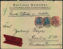 """1922, Eilbrief, Absender """"Berliner Domchor"""" Ab KÖNIGSBERG Nach Berlin - Musik"""