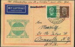 """1931, Blankosarte Mit 5 Unf 50 Pfg. Hindenburg - """"DEUTSCHER SCHLEUDERFLUG - D. EUROPA-NEW YORK"""" - Allemagne"""