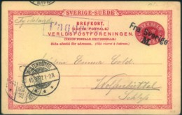 """1897, Stat. Card Written In Malmö With Ship Marks """"Paquetbot"""" And """"Fra Sverige M."""" - Sin Clasificación"""