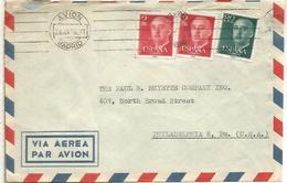 MADRID AVION CC A USA 1956 DOS SELLOS FRANCO 2 PESETAS ROJO - 1931-Aujourd'hui: II. République - ....Juan Carlos I