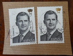 &125& ESPAÑA SPAIN EDIFIL 4939 VF USED PAIR ON PIECE. KING FELIPE VI. USADO, BONITOS. EN FRAGMENTO. - 1931-Hoy: 2ª República - ... Juan Carlos I