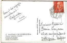 POSTAL SANTIAGO DE COMPOSTELA CON MAT HEXAGONAL CORREO AEREO - Aéreo