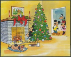 NB - [91432]SUP//-CAICOS ISLANDS - Walt Disney - Mickey, Minnie Et Dingo, Noël, B.D, Le Bloc De 2$ - Disney