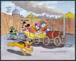 NB - [91575]SUP//-GRENADA - Walt Disney - Donald, Cheminot, Daisy, Minnie Et Mickey, Cariole, Trains, B.D, Le Bloc De 6$ - Disney