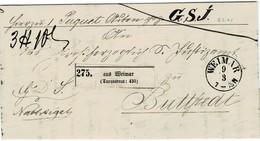 """1862, """" WEIMAR """", Taxquadrat """" Paket-Begleitbrief  ,   #2615 - Tour Et Taxis"""