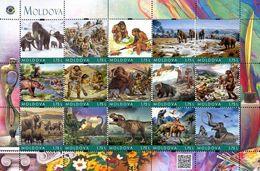 Moldova 2019, Prehistoric Men, Dinosaurus, Mammoth, Sheetlet Of 15v - Moldavie
