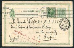 1908 Denmark Uprated Stationery Postcard. Copenhagen - Professor Joseph Wright, Linguist Oxford University. Tolkien - 1905-12 (Frederik VIII)