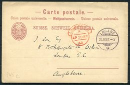1887 Switzerland Carte Postale, Stationery Postcard Lugano - Bishopsgate, London EC Hooded Arrival Postmark - 1882-1906 Coat Of Arms, Standing Helvetia & UPU